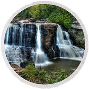 Round Beach Towel featuring the photograph Black Water Falls by Mark Dodd