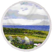 Block Island Sea Chairs Round Beach Towel