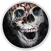 Bloody Skull Round Beach Towel by Joana Kruse