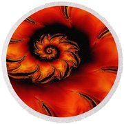 Round Beach Towel featuring the digital art Flamenco Flame I by Richard Ortolano