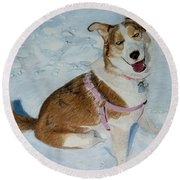 Blue - Siberian Husky Dog Painting Round Beach Towel
