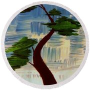 Blue Abstract Bonsai Tree Round Beach Towel