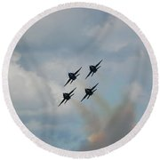 Blue Angels Roaring By Round Beach Towel by Randy J Heath