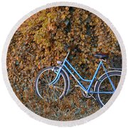 Blue Bike Round Beach Towel