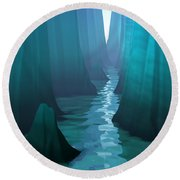 Round Beach Towel featuring the digital art Blue Canyon River by Phil Perkins