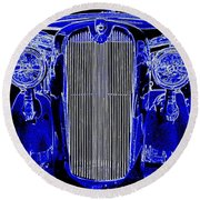 Blue Coupe Round Beach Towel