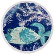 Blue Fish Called Flow Round Beach Towel