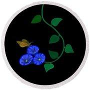 Blue Flower Butterfly Round Beach Towel