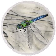 Blue-green Dragonfly Round Beach Towel