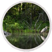 Blue Heron Long Pond Wmnf Round Beach Towel