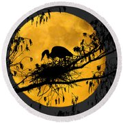 Round Beach Towel featuring the photograph Blue Heron On Roost by Dan Friend