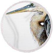 Blue Heron Study Round Beach Towel