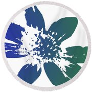 Blue In Bloom Round Beach Towel