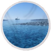 Round Beach Towel featuring the digital art Blue Infinity... by Tim Fillingim