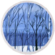 Blue Interlude Round Beach Towel
