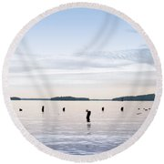 Round Beach Towel featuring the photograph Blue Lake Muskoka by Les Palenik