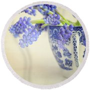 Blue Muscari Flowers In Blue And White China Cup Round Beach Towel by Lyn Randle