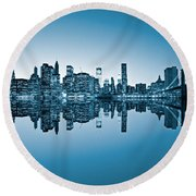 Round Beach Towel featuring the photograph Blue New York City by Luciano Mortula