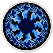Blue Ripple Round Beach Towel