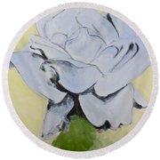 Blue Rose-3-posthumously Presented Paintings Of Sachi Spohn  Round Beach Towel