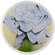 Blue Rose-3-posthumously Presented Paintings Of Sachi Spohn  Round Beach Towel
