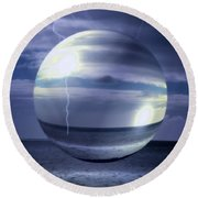 Round Beach Towel featuring the photograph Blue Sea Hover Bubble by Vicki Ferrari