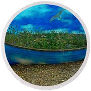 Round Beach Towel featuring the photograph Blue Sky Boat  by Chris Lord