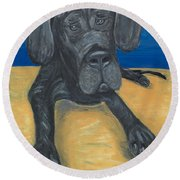 Round Beach Towel featuring the painting Blue The Great Dane Pup by Ania M Milo
