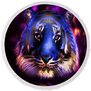 Round Beach Towel featuring the photograph Blue Tiger Of The Purple Forest by George Pedro
