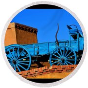 Round Beach Towel featuring the photograph Blue Wagon On A Roof by Susanne Still