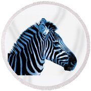 Blue Zebra Art Round Beach Towel