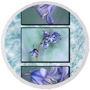 Round Beach Towel featuring the photograph Bluebell Triptych by Steve Purnell