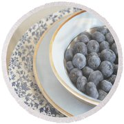 Blueberries In Blue And White China Bowl Round Beach Towel by Lyn Randle