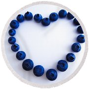 Blueberry Heart Round Beach Towel by Julia Wilcox