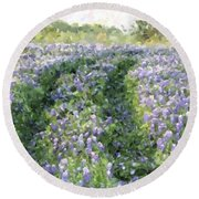 Bluebonnet Trail Round Beach Towel