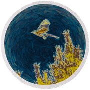 Bluejay Gone Wild Round Beach Towel by Trish Tritz