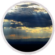 Round Beach Towel featuring the photograph Blueray Panorama by Susanne Still