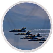 Round Beach Towel featuring the photograph Blues by David Gleeson