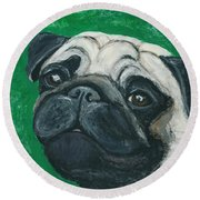 Round Beach Towel featuring the painting Bo The Pug by Ania M Milo