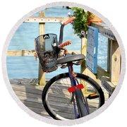 Boardwalk Bike Round Beach Towel