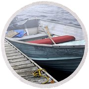 Boat In Fog Round Beach Towel