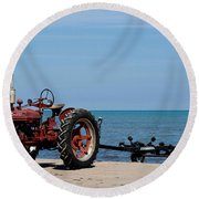 Round Beach Towel featuring the photograph Boat Trailer by Barbara McMahon