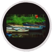 Boats At Rest Round Beach Towel
