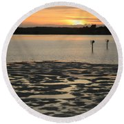 Bodega Bay Sunset Round Beach Towel
