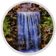 Botanical Garden Falls Round Beach Towel by Lynne Jenkins
