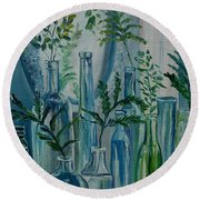 Round Beach Towel featuring the painting Bottle Brigade by Julie Brugh Riffey