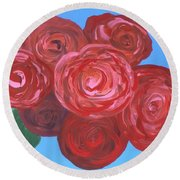 Round Beach Towel featuring the painting Bouquet Of Roses by Alys Caviness-Gober