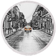 Bourbon St Taxi French Quarter New Orleans Color Splash Black And White Colored Pencil Digital Art Round Beach Towel by Shawn O'Brien