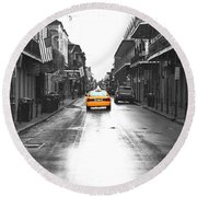 Bourbon Street Taxi French Quarter New Orleans Color Splash Black And White Film Grain Digital Art Round Beach Towel