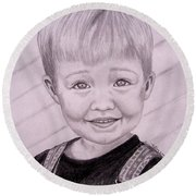 Round Beach Towel featuring the drawing Brady by Julie Brugh Riffey